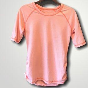 LUCY Tech Orange/White stripe ruched top